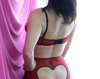 Women Sleepwear & Intimates Panties Handmade Lingerie The High Waist Red Mesh Heart Women Panties MADE TO ORDER