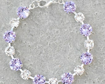 Lavender Bracelet Purple Bridesmaids Jewelry Swarovski Crystal Lilac Clear Crystal Diamond Rhinestone Tennis Bracelet Purple Bridal Party