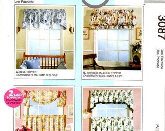 McCall's 3087 Home Dec In A Sec - Window Treatments Sewing Patterns Supply Curtain Panels Pattern Balloon Curtain Valance ff