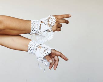 White victorian lace wrist cuffs with satin ribbon wedding fingerless gloves crochet cuffs white lace gloves crochet victorian white cuffs