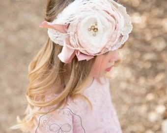 dusty rose girl headband, mauve, flower girl headband, baby, toddler, couture, big bow headband, lace, infant, newborn headbands, headbands