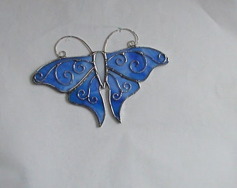 Blue Butterfly Suncatcher,Stained Glass,Decorative,Glass Butterfly, Home and Living, Home Decor, Fancy Swallowtail, Wings,Handmade Gift Idea