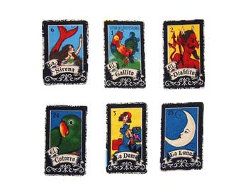 Loteria - Loteria Cards - Mexican - Folk Art - Girls -  Iron on Patch - Baby Clothing - Mermaid -  Tshirts - Patches - Moon - Set of 6 or 1