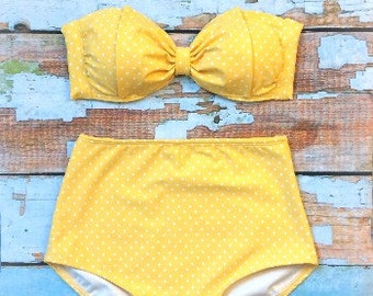 Vintage Inspired Bow Bikini - Retro Bikini Set - Yellow Diamond Print - Pin Up - MANY SIZES!!