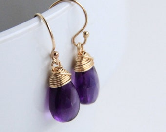 Amethyst Earrings, dark purple stone jewelry, 14k gold filled earrings