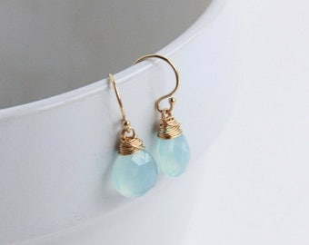 Light Blue Earrings, 14k gold filled Jewelry, Blue Chalcedony,  Wire Wrapped Briolette,  Sterling Silver Earrings