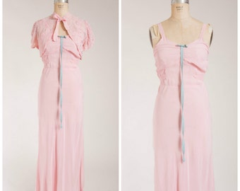 Vintage 1930s Dress • Springtime Tales • Blush Pink Chiffon 30s Gown with Bolero Size Medium