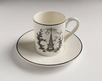 Black transferware espresso cup, 1959 Ohio University, demitasse cup, Architectural
