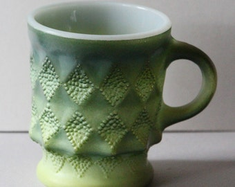 Anchor Hocking Kimberly Pattern Mug in Green