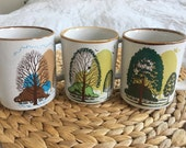 Stoneware, Stone Ware, Pottery, Coffee Mugs, Set of 3, Made in Korea, Forest, Green, Grey, 70s, Retro, Tress, Botanical, Nature, Table Ware