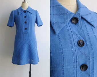 15% Code - MAR15OFF - Vintage 70's 'Collegiate' Preppy Blue Check Dropwaist Dress XS or S