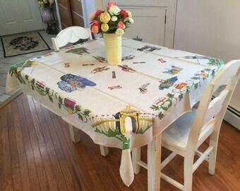 "Retro Canada Souvenir Tablecloth Printed Natural Linen Luncheon Table Cover 44"" x 50"" Square"