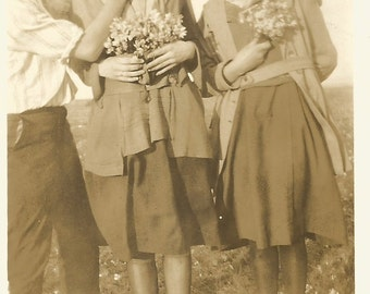 "Vintage Snapshot ""Pretty Sister"" Young Girls Flower Bouquets Found Vernacular Photo"