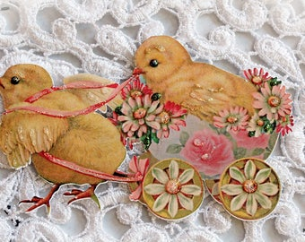Reneabouquets Vintage Sweet Baby Chicks With Cart Die Cut Set Of 2, One Left Facing & One Right Facing,  Scrapbook Embellishment, Die Cuts