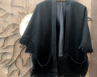 Vintage 1960's Black Wool Cape with Pockets, Bohemian, Gypsy, Costume, Festival Wear