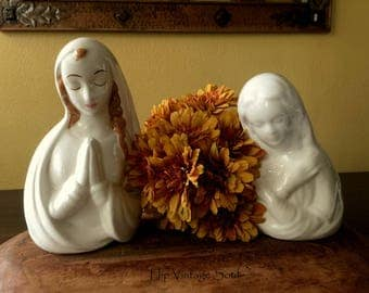 Vintage Madonna Figurines, Vintage Madonna, Set of 2, Religious Madonna Figurines