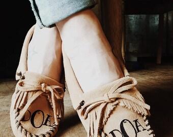 Monogram Minnetonka Moccasins (soft sole shoe)