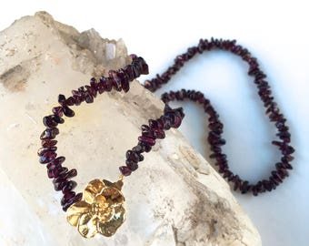 Garnet with Gold Vintage Floral Clasp- Classic-Necklace-long or short-Lovely Gift!