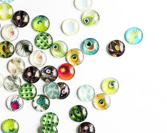 100 Glass Cabochons - WHOLESALE - 12mm - Assorted Feather Patterns - Round - Flatbacks - Ships IMMEDIATELY from California - C315a