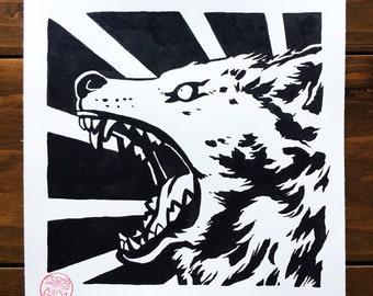 Original Art First Strike Wolf