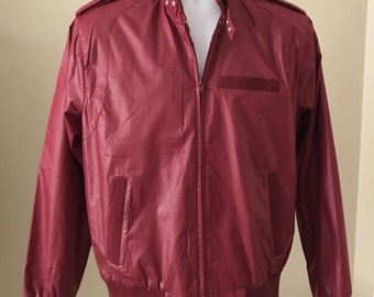 VINTAGE Bomber Racer Cafe' Jacket Members Only Style Burgundy Men's Size MEDIUM Excellent Condition