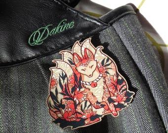 Fox Ninetails Pin. Fox Pin. Fox Brooch. Wood Brooch. Wood Pin. Kitsune Pin. Laser cut Pin. Gifts under 20. Gifts for her. Fox