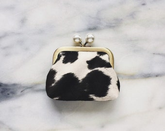 Coin Purse - Faux Suede - Coin Purse With Knobs - Handmade - Cowhide