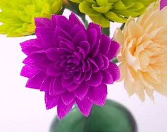 6 Paper Dahlia made from crepe paper