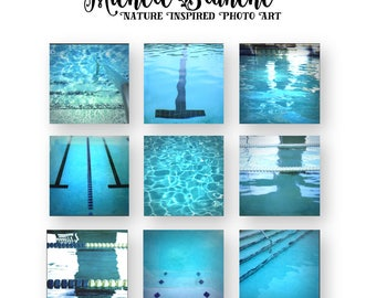 Artistic Pool Typography Water Photos, Swimming Photo set, Swim Team Typography Print Set, Pool Summer Photos, Summer Pool photo Set of Nine
