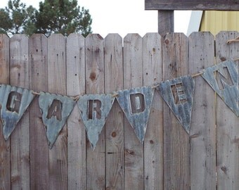 Pendent Flags for Banners Vintage Corrugated Barn Tin/Spell What You Want/Letters/Symbols/A-Z/