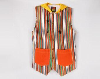 90s Hip Hop Clothing/ Denim Vest/ Cross Colours/ 90s Denim Jacket/ 90s Streetwear/ Striped Jeans/ Vintage Streetwear/ Jean Vest/ 80s Denim