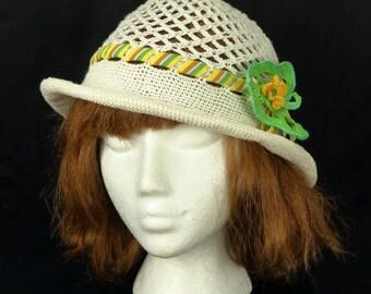Lightweight hat Boho crochet cloche hat Mesh lace cap Crochet cotton summer hat Off white brim hat Crocheted fedora Ribbon flower cloche
