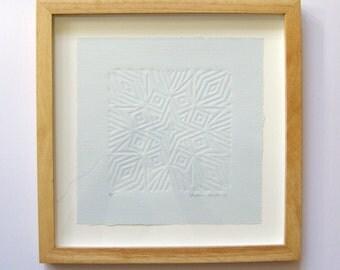 Blue Starburst Print - Embossed Linocut Print - 12x12 Framed Art Print - Minimalist Art - Blue Wall Decor Geometric Star - Paper Anniversary