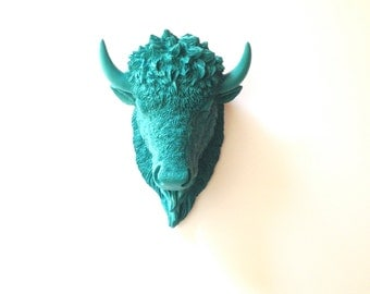 Small Bison Head Faux Taxidermy wall mount wall hanging in DARK TURQUOISE / buffalo head /mini faux animal / kids room decor / adventure