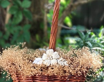 rustic woodland flower girl basket baby's breath destination wedding basket