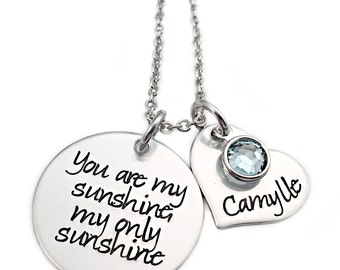 Personalized You Are My Sunshine My Only Sunshine Necklace - Engraved Jewelry - Mom Necklace - Mommy Jewelry - Sunshine Name d/c