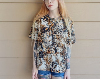 Retro Wild Cat Animal Cheetah Print Slouchy Oversized Blouse Shirt // Women's size Small S