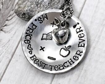 Teacher Christmas Gift - Teacher Necklace - Best Teacher Ever - Teacher Appreciation Gift - Teacher Jewelry