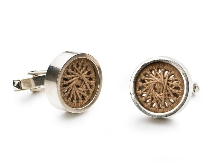 Cufflinks, 925/000 Silver, yarn, beige.