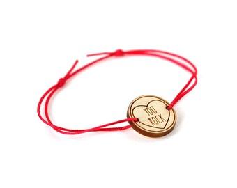 "Heart bracelet with message ""You rock"" - Valentine's bangle - wedding jewelry - 25 colors - adjustable bracelet - lasercut maple wood"