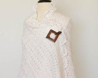 Crochet Shawl Scarf Wrap White - Prayer Shawl, Wedding Shawl, Bridal Shawl, Accessories, Womens Fashion, Womens Gift, Christmas Gift