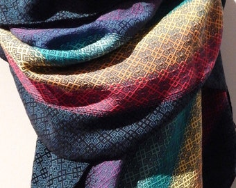 "Handwoven ""Rainbow Dreams""- shawl / scarf"