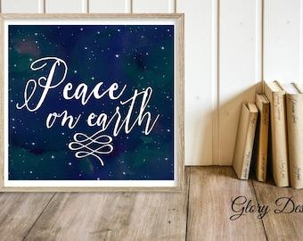 Printable, Christmas Printable, Peace on earth printable, Peace on earth scripture, Bible verse, Christmas quote