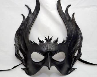 Black Leather Raven Wing Valkyrie Maleficent Inspired Original Cosplay Mask