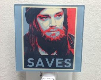 Jesus Saves Paul Monroe Glass Night Light