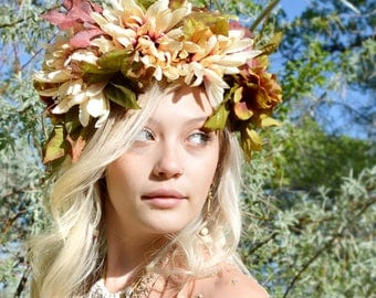 woodland fairy crown, silk flower crown, rustic bridal crown, woodland wedding forest bride boho bohemian indie bride, hippie headband halo