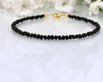 Black Bracelet Anklet Layered Ankle Bracelet Black Anklet Seed Bead Bracelet