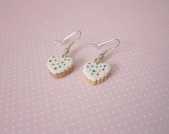 Sugar cookie earrings, food jewelry, polymer clay, heart shaped earrings