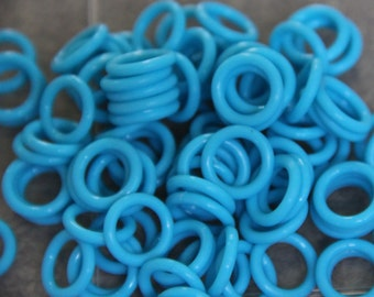 25 neon Blue 15mm Oh Rings Orings O Rings Silicone Rubber Rings Jumprings Chainmaille Florescent