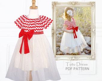 Girls Sewing Pattern pdf, Dress Pattern, Tutu Dress Pattern, Flower Girl Dress Pattern, Peasant Dress Pattern, Easy Pattern, TUTU DRESS